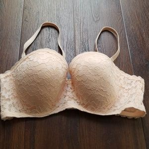 Aerie convertible strapless nude lace bra 38C